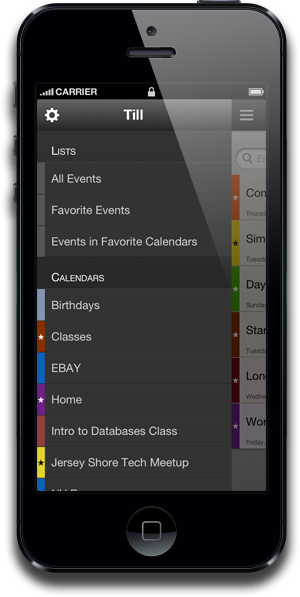 Till Lists and Calendars Selection Screenshot